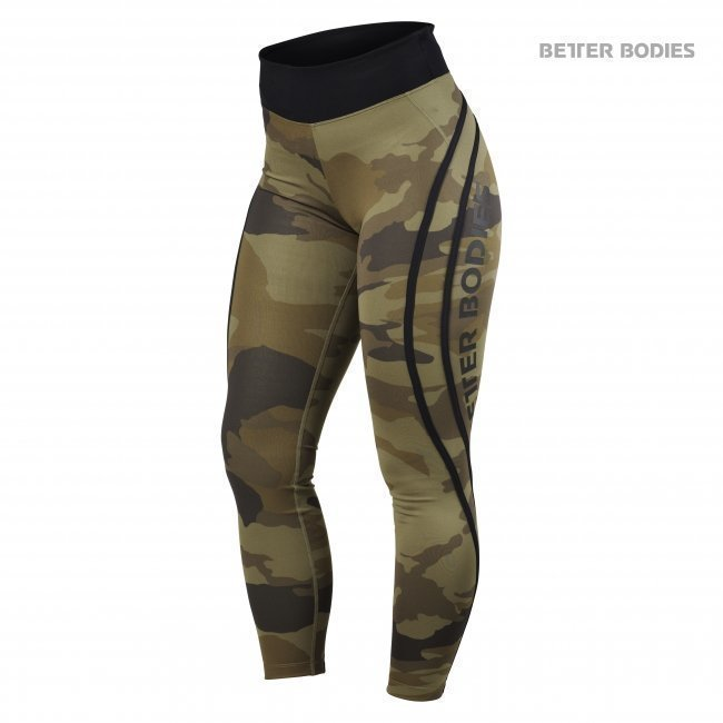 Better Bodies Camo High Tights dark green