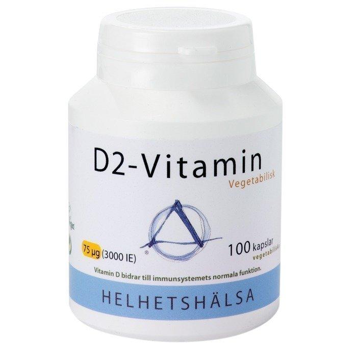 Helhetshälsa D-vitamiini D2 (kasvipohjainen) 75 mcg 100 kapselia