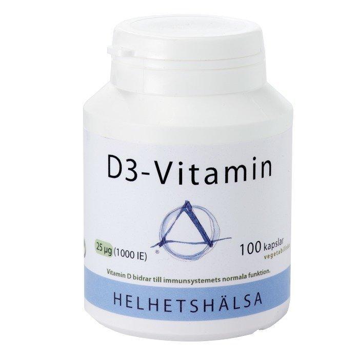 Helhetshälsa D-vitamiini D3 25 mcg 100 kapselia