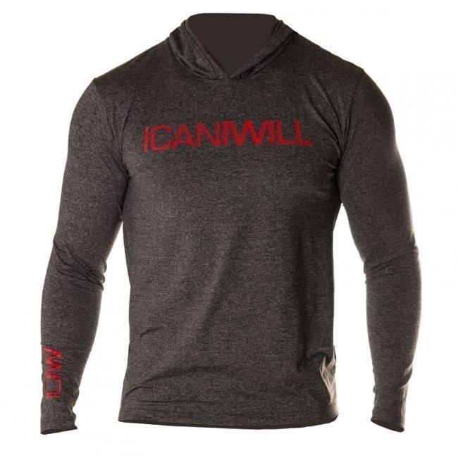 ICANIWILL Long Sleeve Hoodie V.2 (harmaa/punainen)
