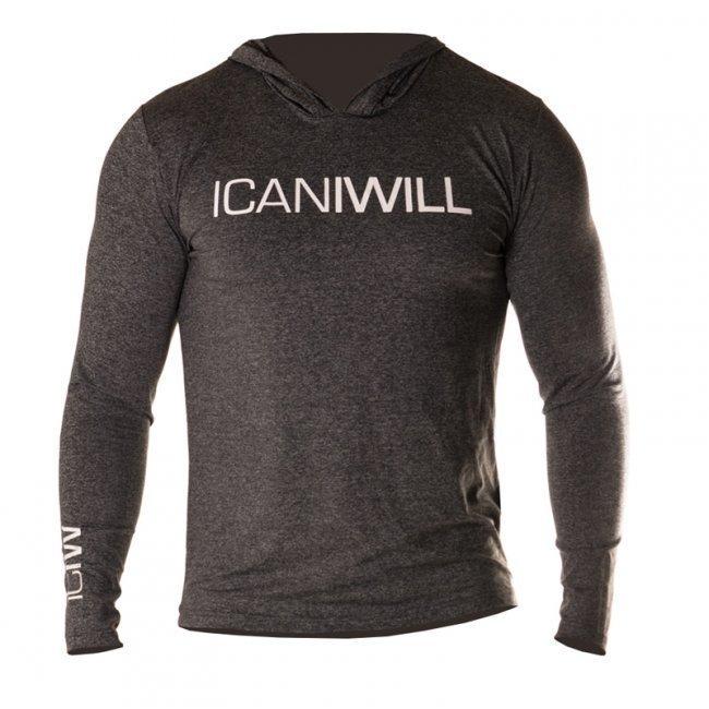 ICANIWILL Long Sleeve Hoodie V.2 (harmaa/valkoinen)