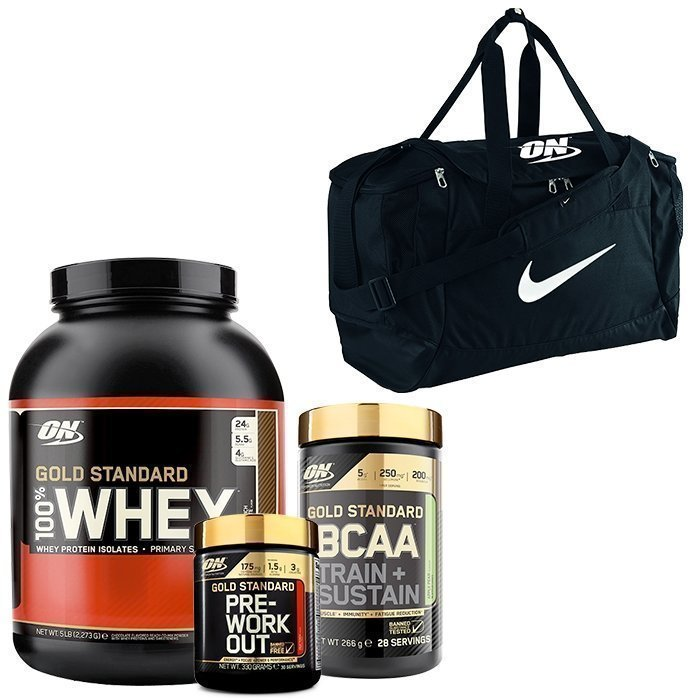 Optimum Nutrition 100% Whey Gold Std 2273 g + Gold Std PWO + Gold Std BCAA + Nike Bag