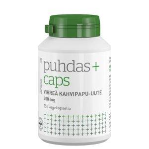 Puhdas+ Vihreä Kahvipapu Uute 200 Mg 150 Kaps