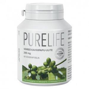Purelife Vihreä Kahvipapu-Uute 200 Mg / 60 Kpl