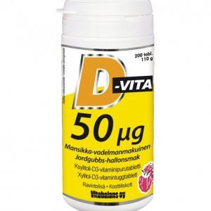 Vitabalans D-Vita 200 Kpl 50 Μg Mansikka-Vadelma