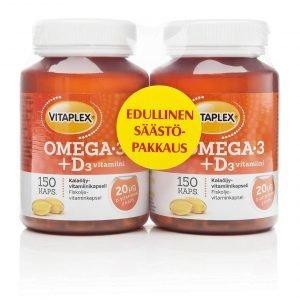 Vitaplex Omega-3 + D3-Vitamiini Kalaöljyvalmiste 150 Kpl 2-Pakkaus